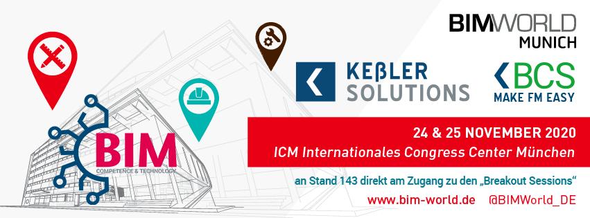 Banner BIM world Munich 2020 mit KRES, BCS & BIM-KTZ