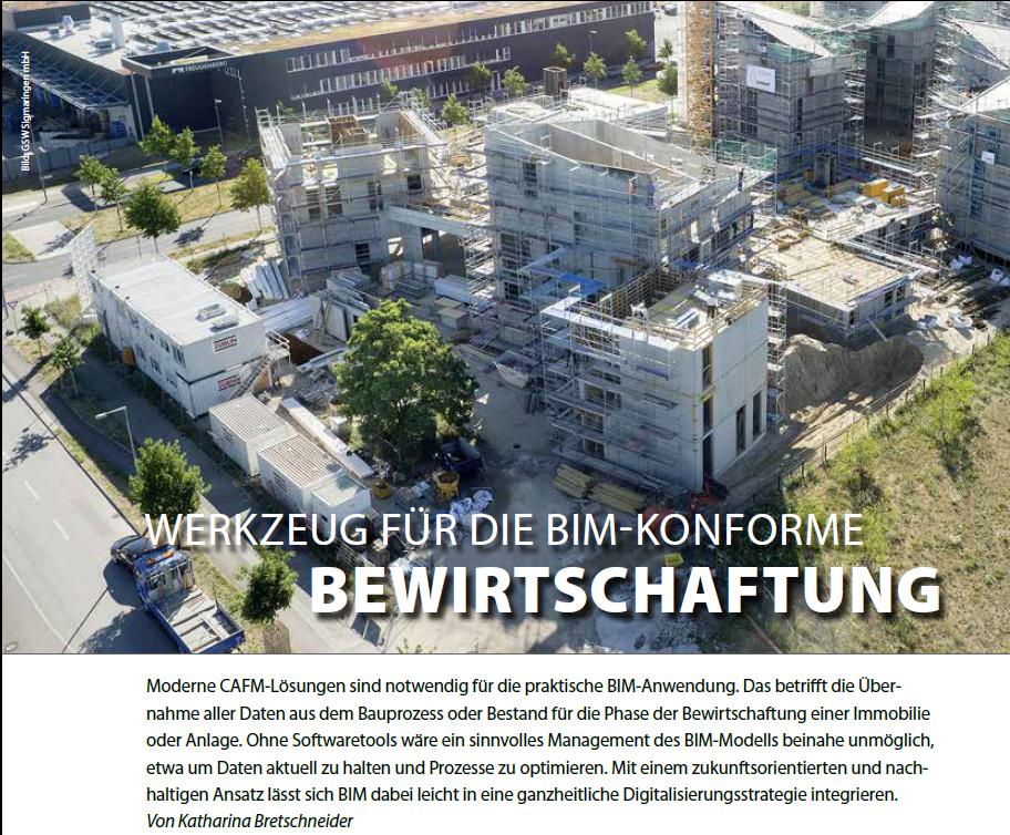 """Screenshot Bauen Aktuell 3/2021, Artikel S. 10 """"Werkzeug für BIM-konforme Bewirtschaftung"""" mit Foto Future Living Berlin-Baustelle + Teaser"""