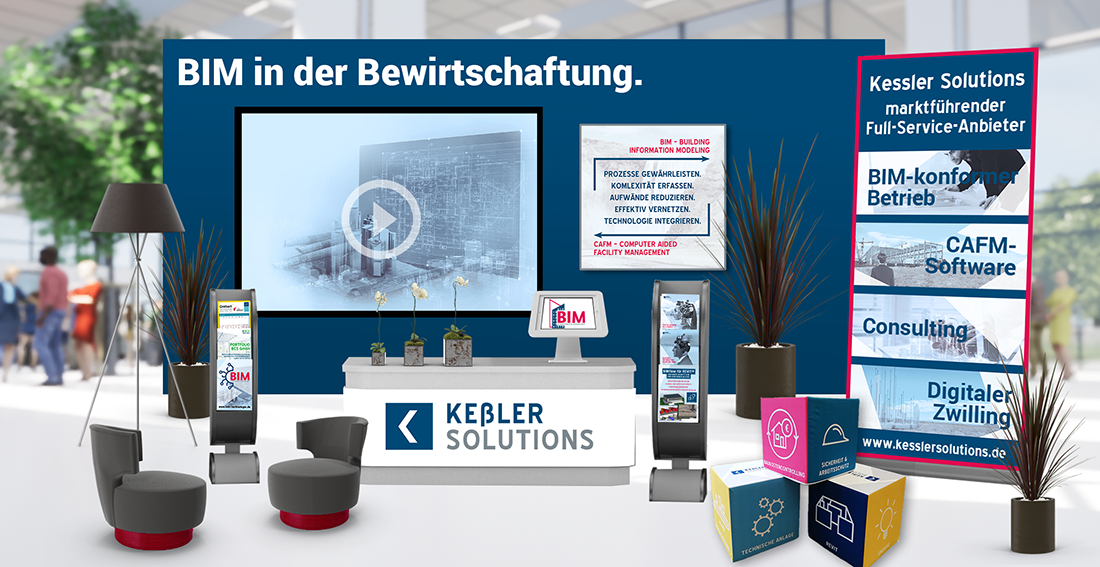 Bild des virtuellen Messestandes von Keßler Solutions auf der BIM-Tage 2021 mit Theke, Bannern, Video usf. (png)
