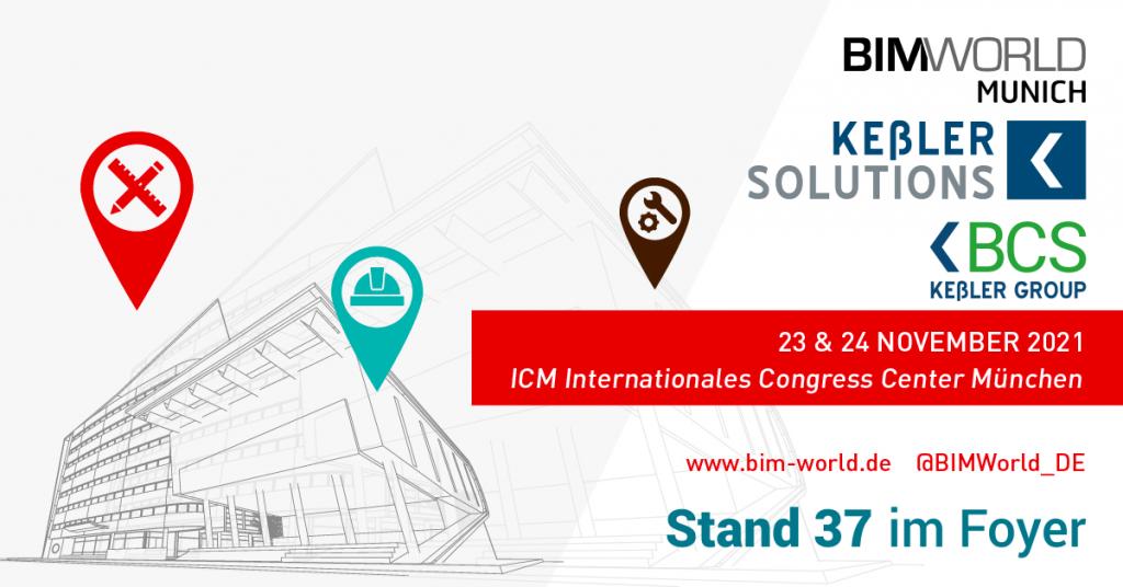 Grafik der Messe BIM world Munich 2021 mit unseren Logos und Standnummer 37